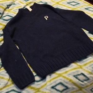 NWT PINK navy blue crew knit sweater